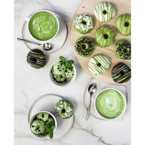 matcha donuts and lattes