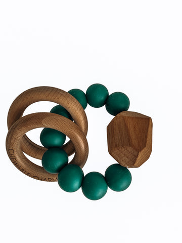 Hayes Silicone + Wood Teether Ring- Peacock