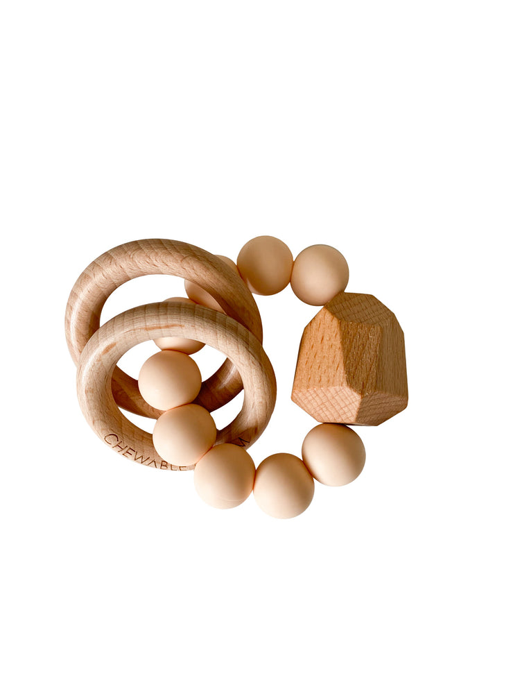 Hayes Silicone + Wood Teether Ring- Creamsicle