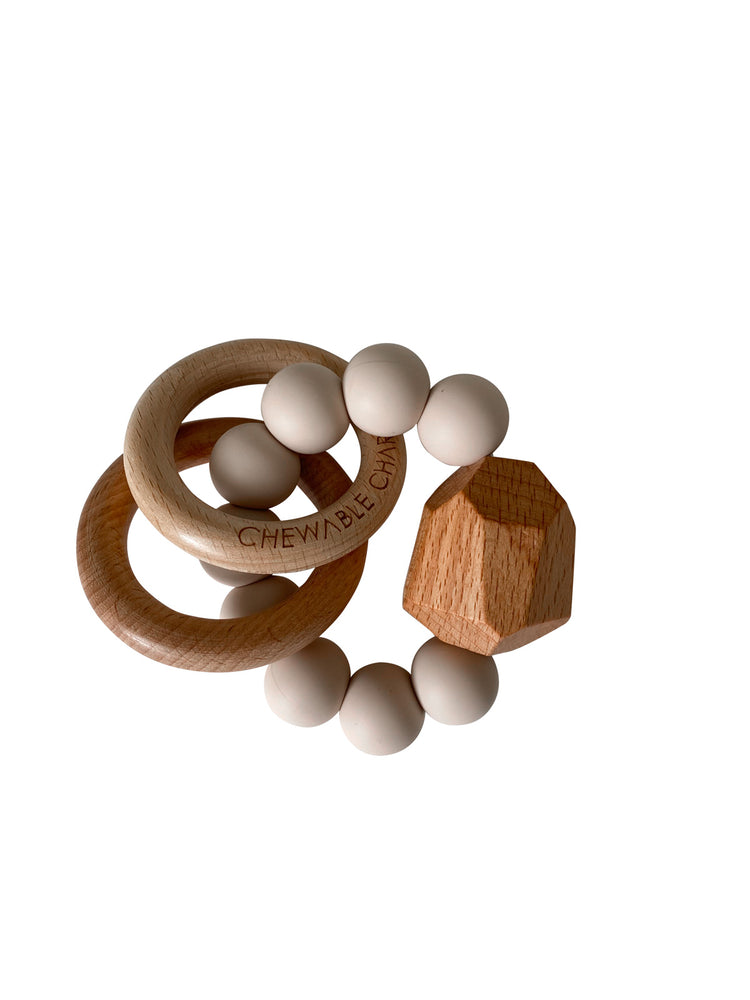 Hayes Silicone + Wood Teether Ring- Oat