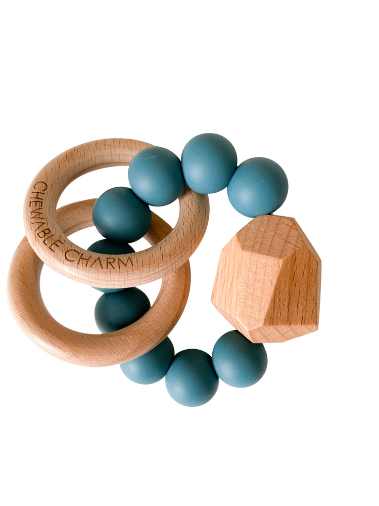 Hayes Silicone + Wood Teether Ring- Gypsy Teal