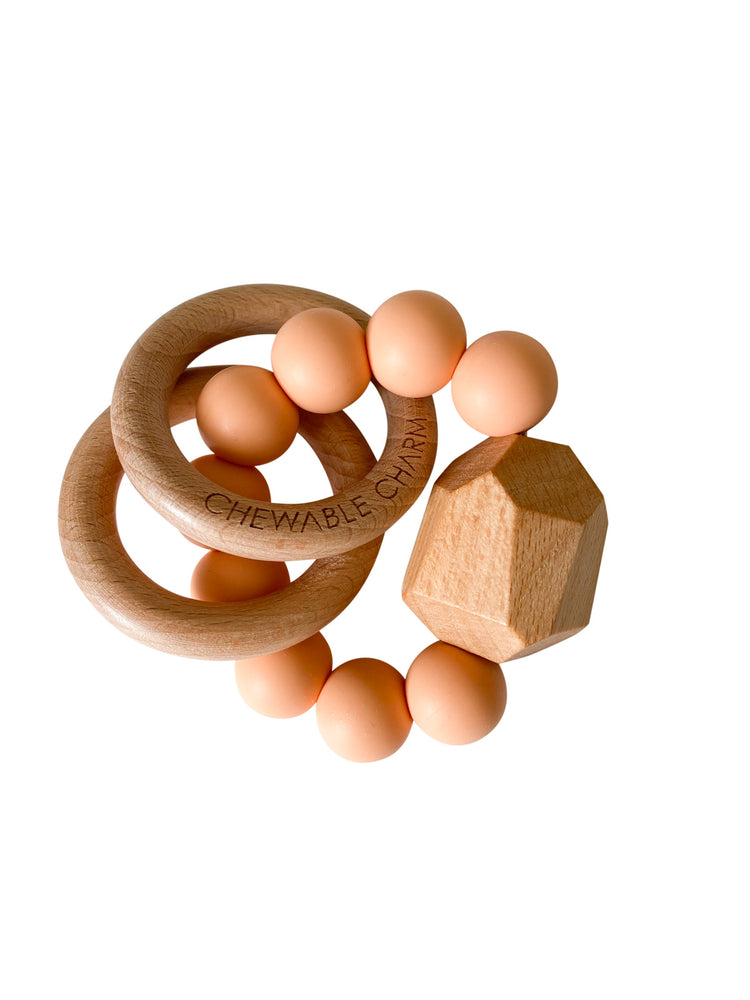 Hayes Silicone + Wood Teether Ring- Peach