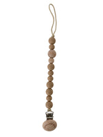 Classic Pacifier Clip - Wood + Tan