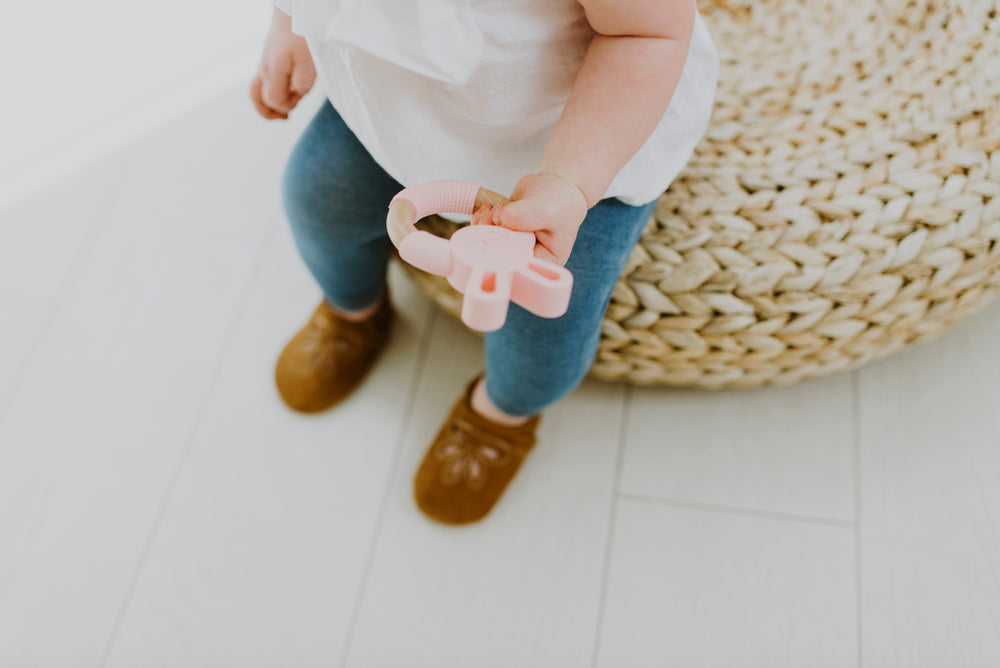 Load image into Gallery viewer, Bunny Silicone + Wood Teether - Peony Pink