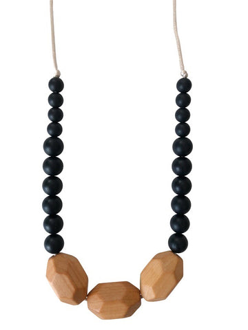 The Austin- Black Teething Necklace