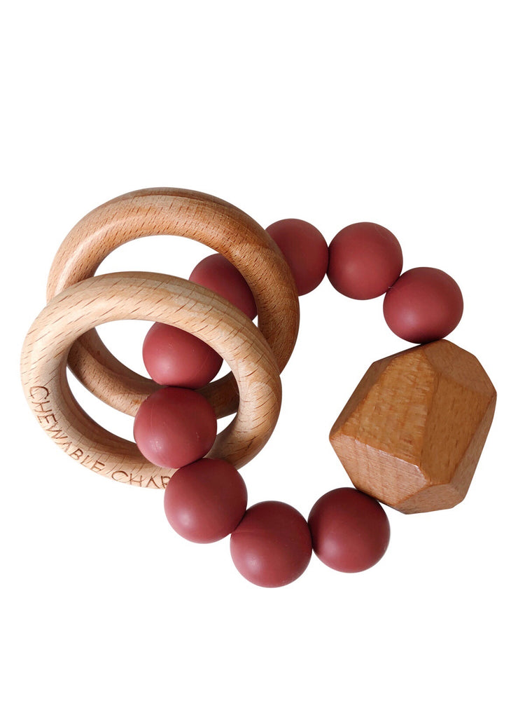 Hayes Silicone + Wood Teether Ring- Dusty Cedarwood