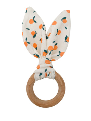 Crinkle Bunny Ears Teether- Clementine