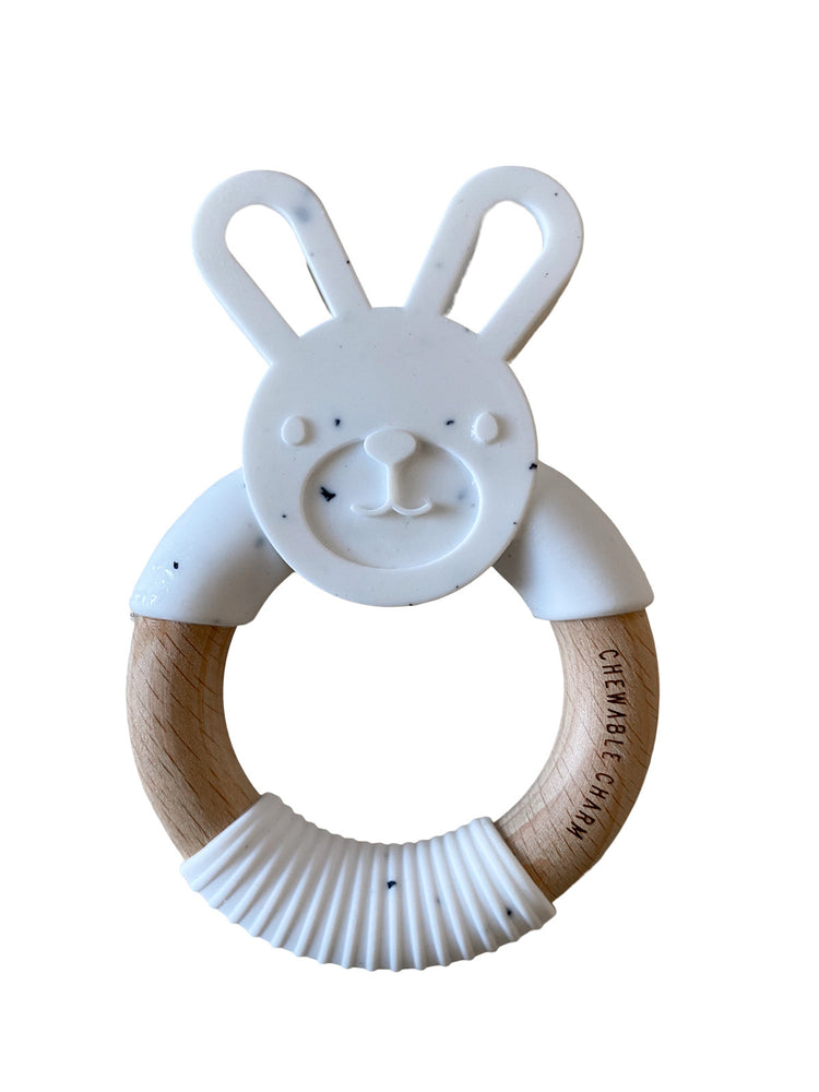 Bunny Silicone + Wood Teether - Moonstone