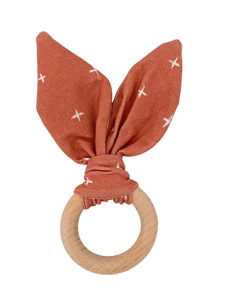 Crinkle Bunny Ears Teether- Rust