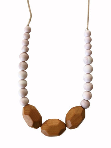The Austin- Rose Quartz Teething Necklace