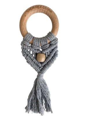 Celeste Macrame Teether + Bead - Grey