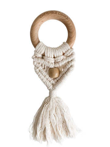 Celeste Macrame Teether + Bead - Cream