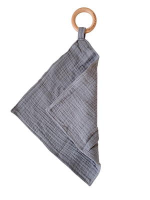 Muslin Teething Ring- Mist Grey