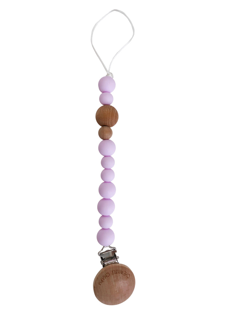 Load image into Gallery viewer, Classic Pacifier Clip - Wood + Lavender