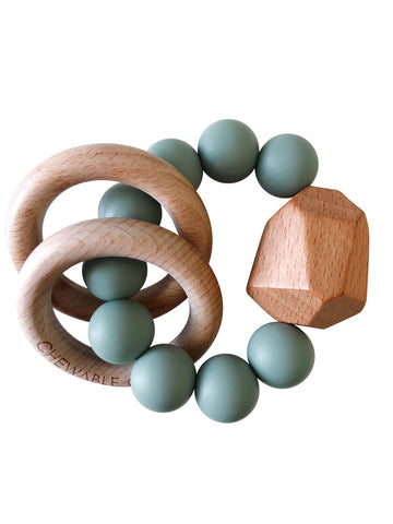 Hayes Silicone + Wood Teether Ring- Succulent