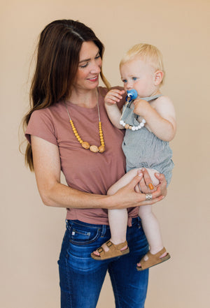 Load image into Gallery viewer, Classic Pacifier Clip - Wood +Moonstone