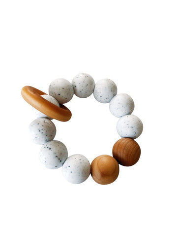 Remy Silicone + Wood Teether Ring - Moonstone