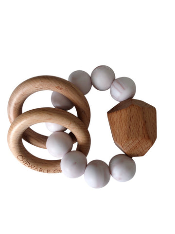 Hayes Silicone + Wood Teether Ring-Rose Quartz