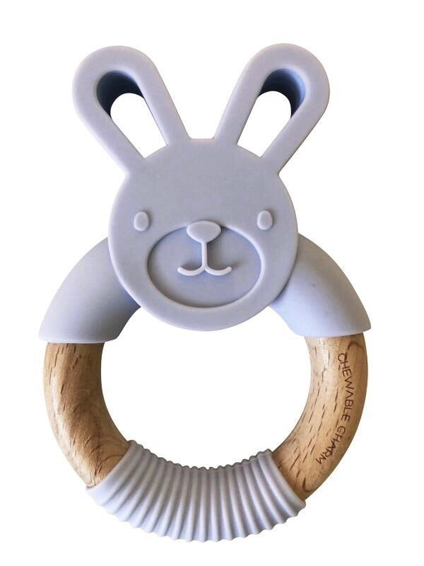 Bunny Silicone + Wood Teether - Lavender