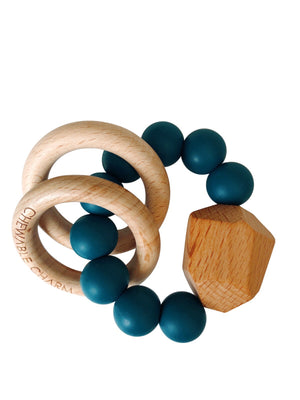 Load image into Gallery viewer, Hayes Silicone + Wood Teether Ring- Shaded Spruce