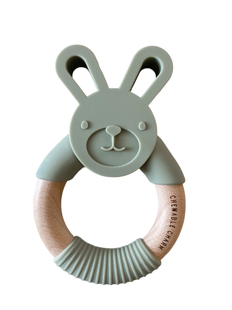 Bunny Silicone + Wood Teether - Sage