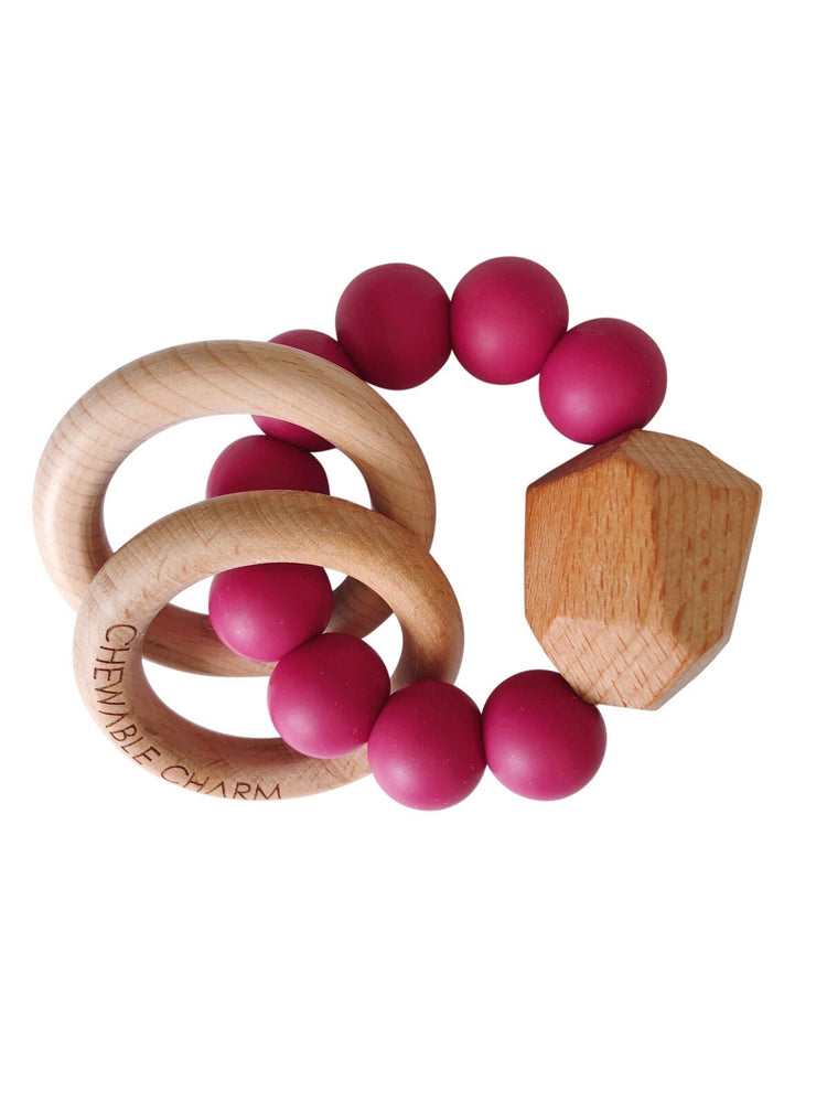 Hayes Silicone + Wood Teether Ring- Sangria