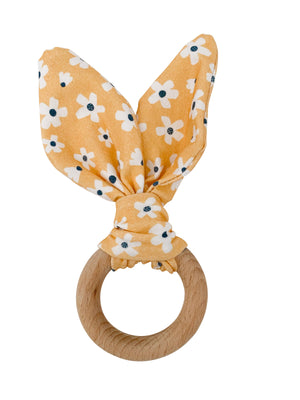 Load image into Gallery viewer, Crinkle Bunny Ears Teether- Golden Daisy