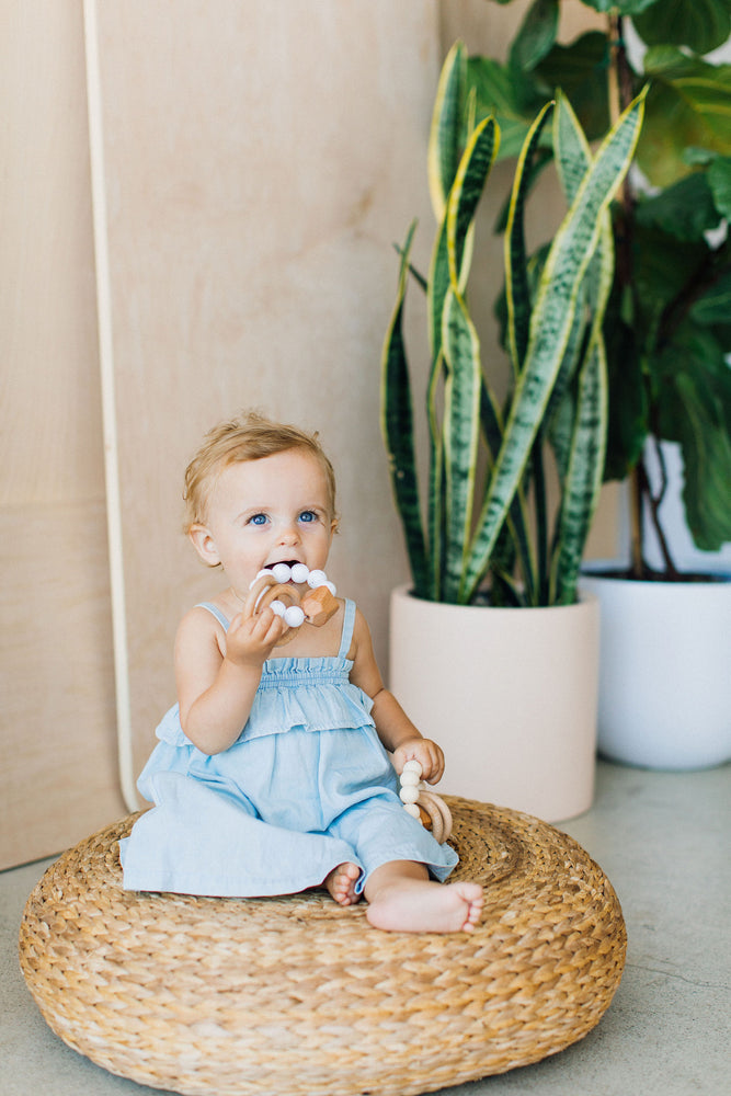 Hayes Silicone + Wood Teether Toy-Moonstone