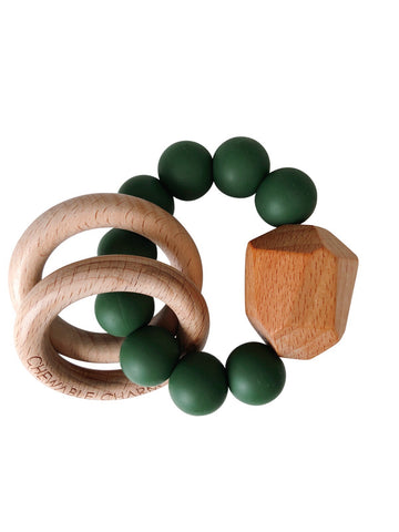 Hayes Silicone + Wood Teether Ring- Kale