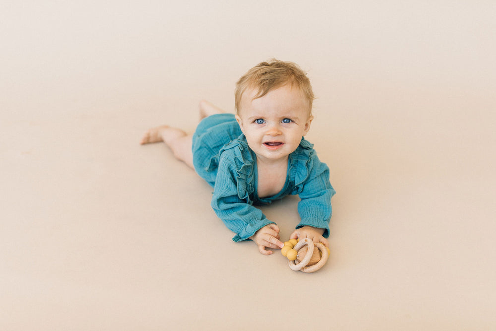 Hayes Silicone + Wood Teether Ring- Mustard Yellow