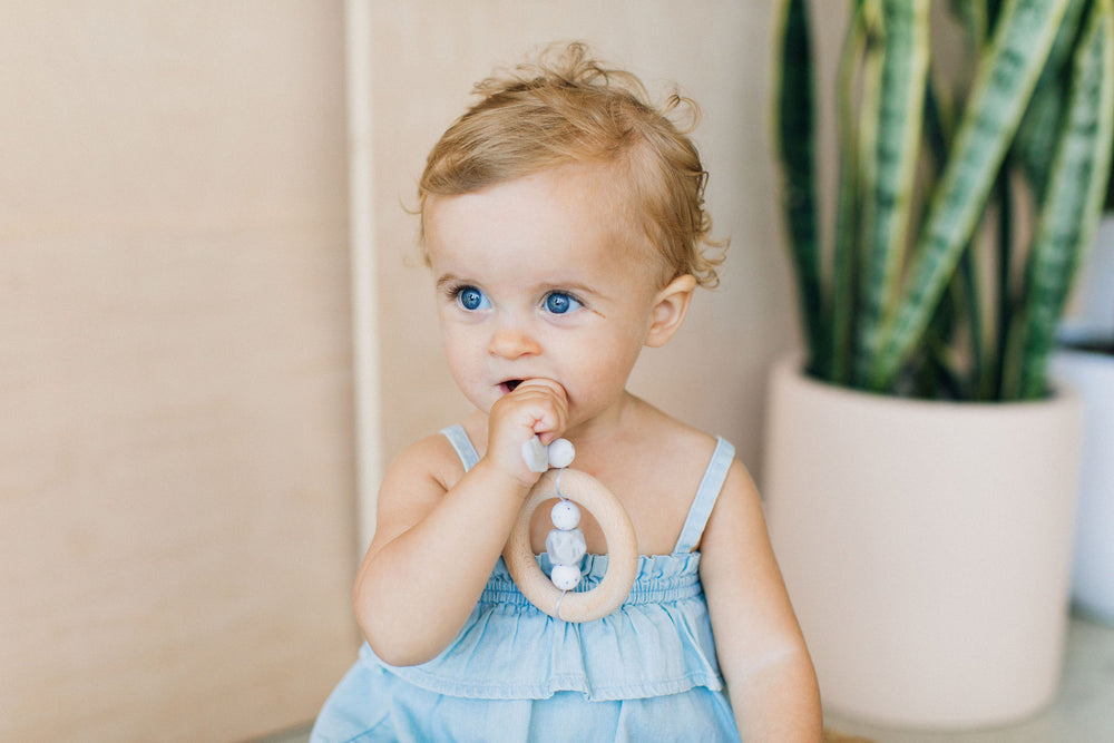 Dreamcatcher Silicone + Wood Teether - Rose Quartz