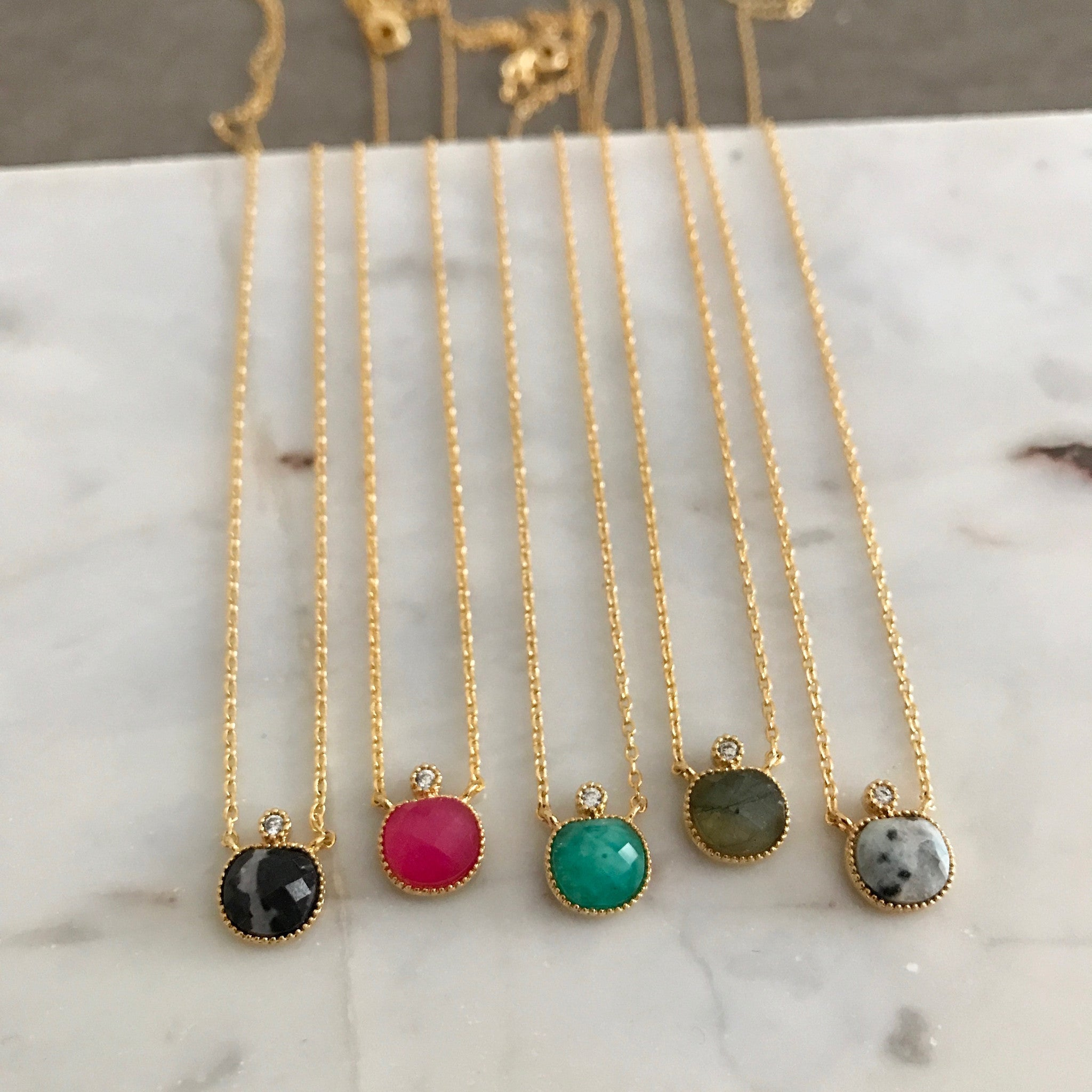 Dome Gemstone Necklace