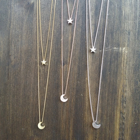 Crescent Moon & Star (Double Strand) Necklace