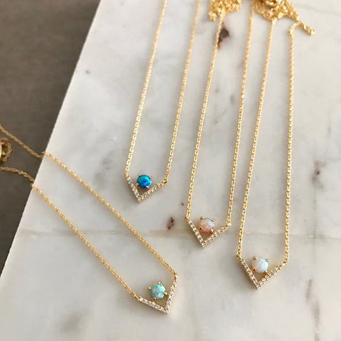 "Opal: ""V"" Necklace"