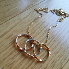 Triple Twist Ring Necklace