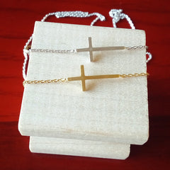 Sideways Cross Necklace