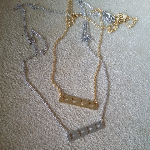Open Triangles on Bar Necklace