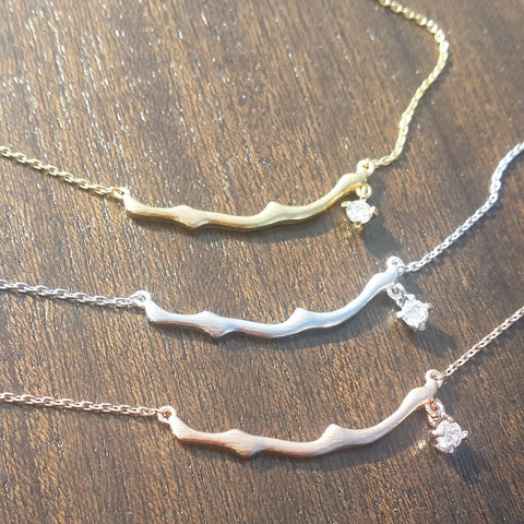 Twig with Stone Drop Necklace