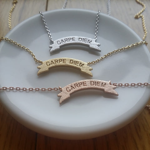 CARPE DIEM Banner Necklace