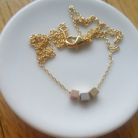 Triple Square Cluster Necklace