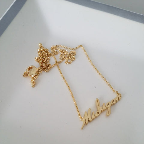Michigan (script) Necklace