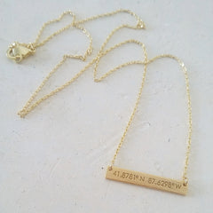 Chicago Coordinates Bar Necklace