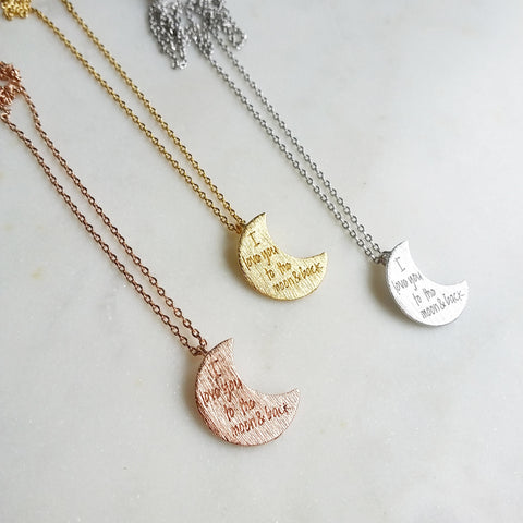 I love you to the moon & back (Crescent) Necklace