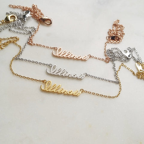 Illinois (script) Necklace
