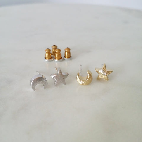 Crescent Moon & Star Earrings