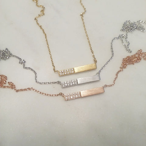 Pave Half Bar Necklace