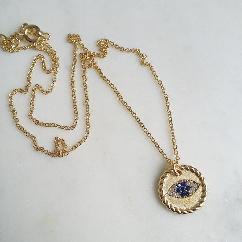 Evil Eye Rope Medallion Necklace