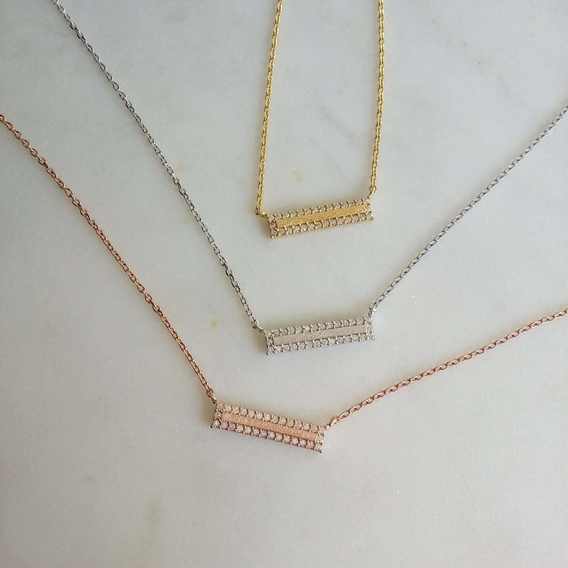 Pave Brick Bar Necklace