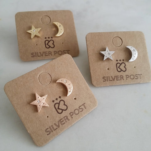 Crescent Moon & Star Flare Earrings