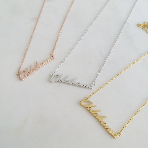 Oklahoma (script) Necklace